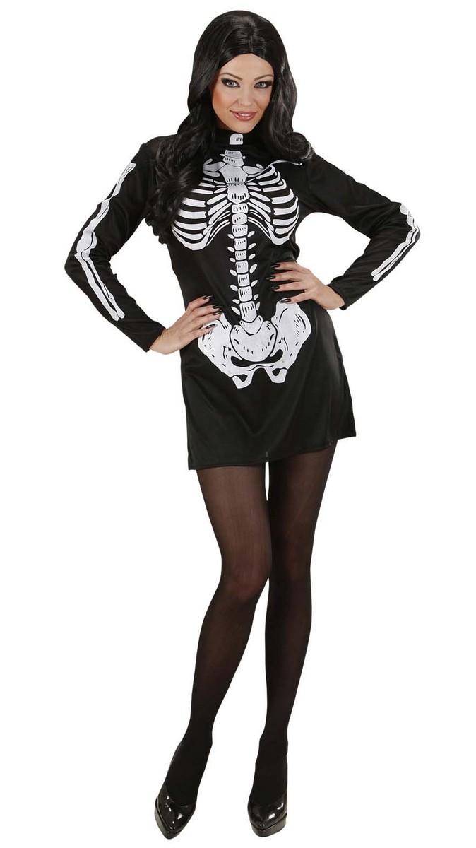 p skelett halloween damenkostuem schwarz weiss