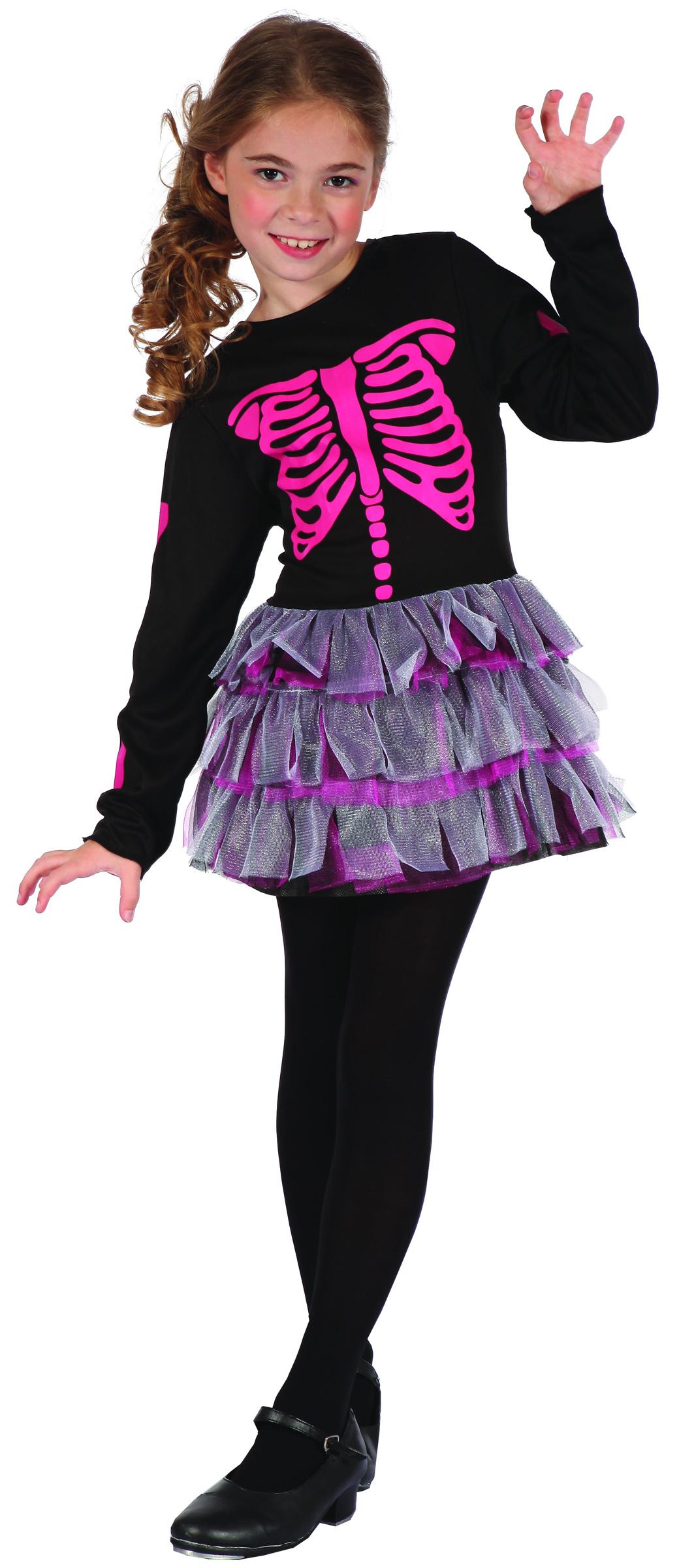 p niedliches skelett maedchen halloween kinderkostuem schwarz pink