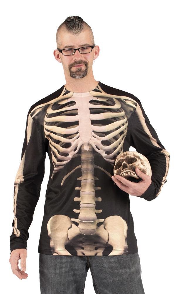 p t shirt fuer erwachsene mit aufgedrucktem skelett fuer halloween
