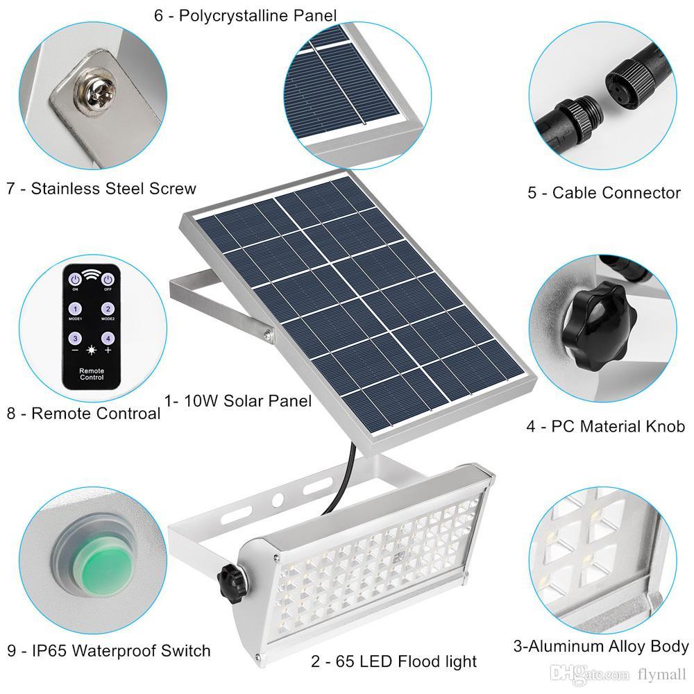 Solar Gartendeko Luxus Großhandel 65led Bewegungs Sensor solarlicht 12w Im Freien solar Scheinwerfer Fern Ip65 Wasserdichte Wandleuchte Sicherheit Straßenlampen