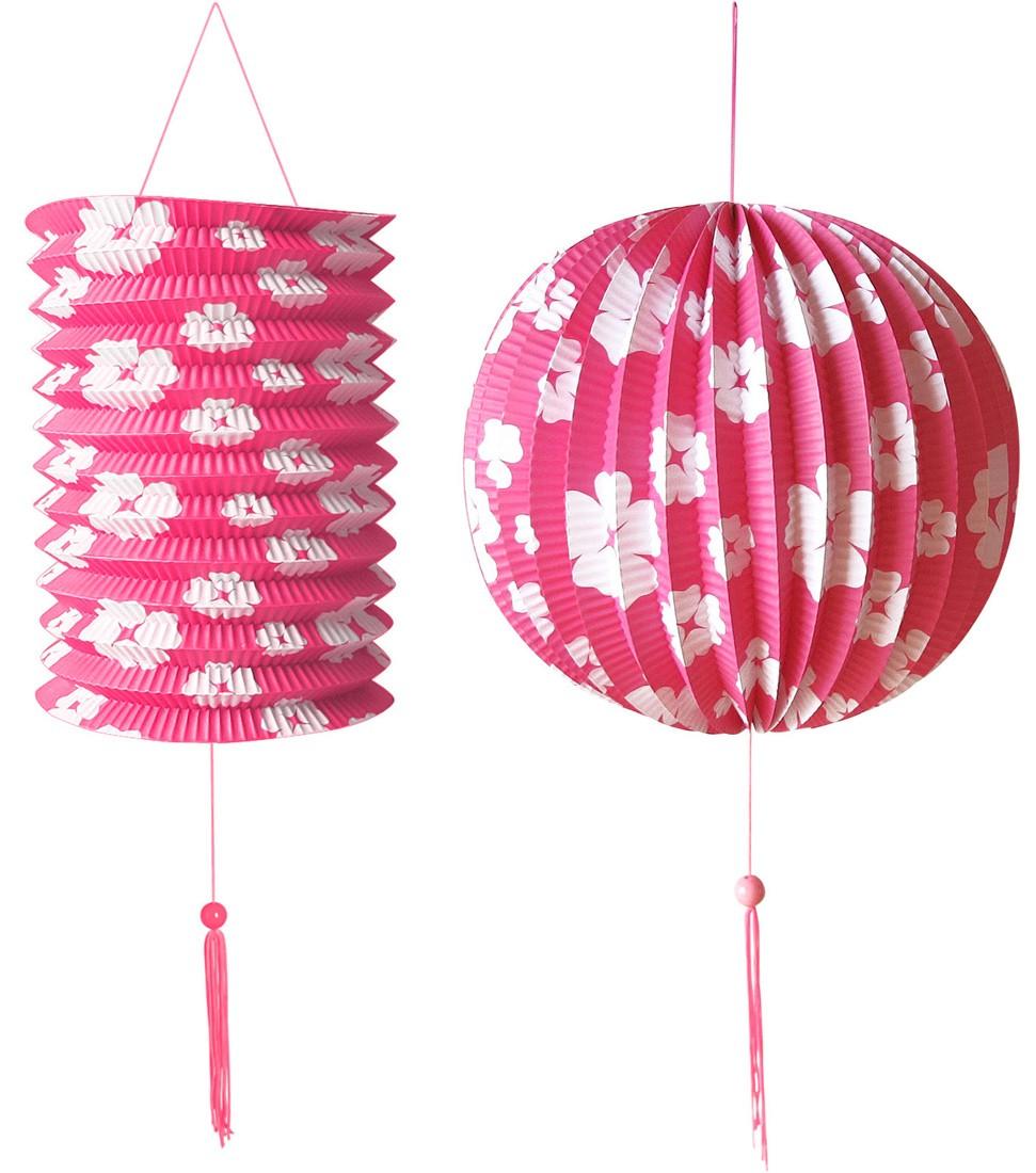 hawaiisches blumen deko set rosa 1