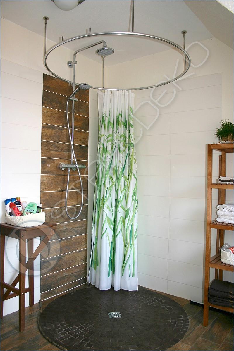 stange fuer duschvorhang vollkreis form bodengleicher duschbereich behindertengerecht