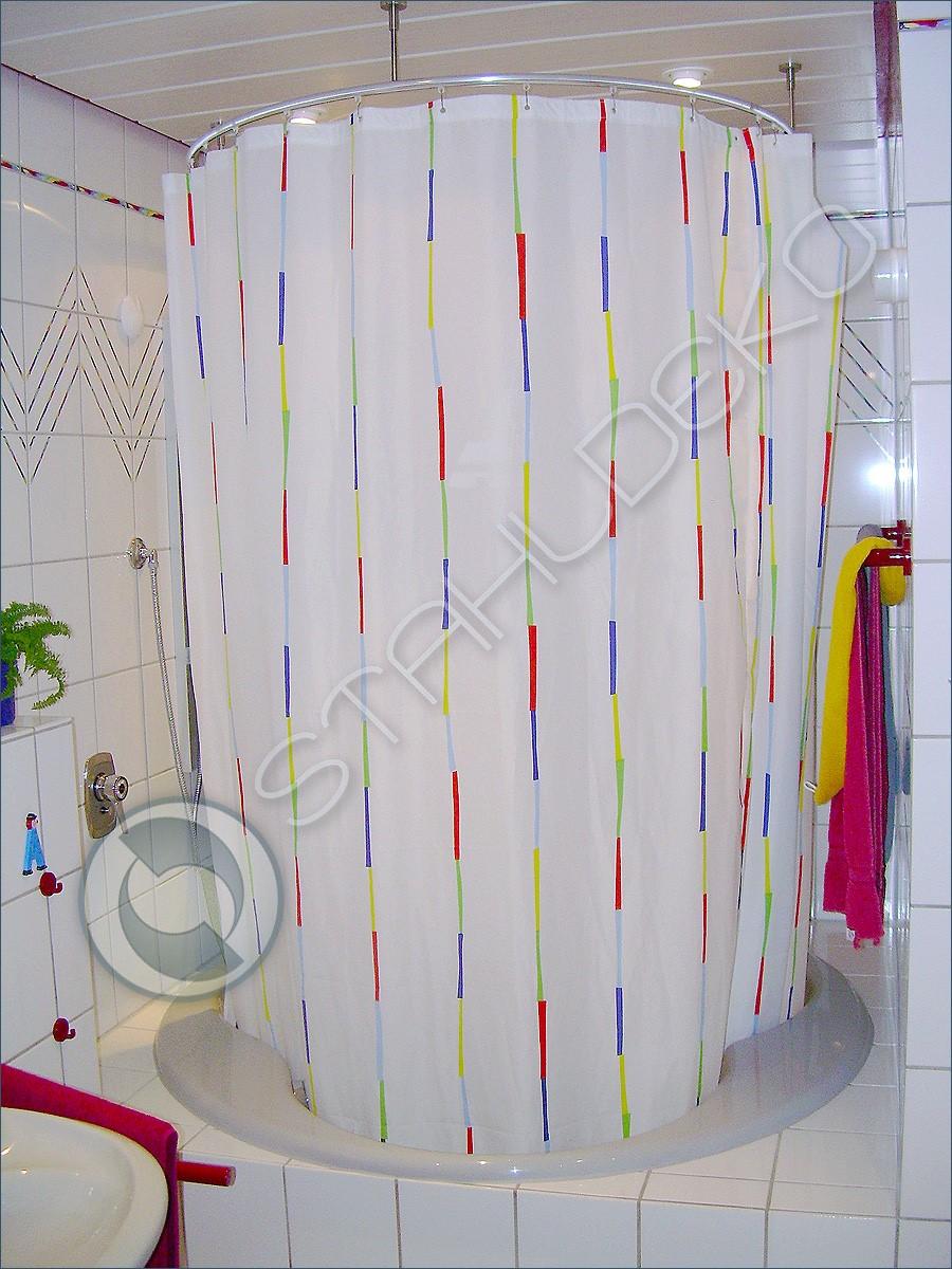 duschvorhangstange als ring gebogen runde duschtasse