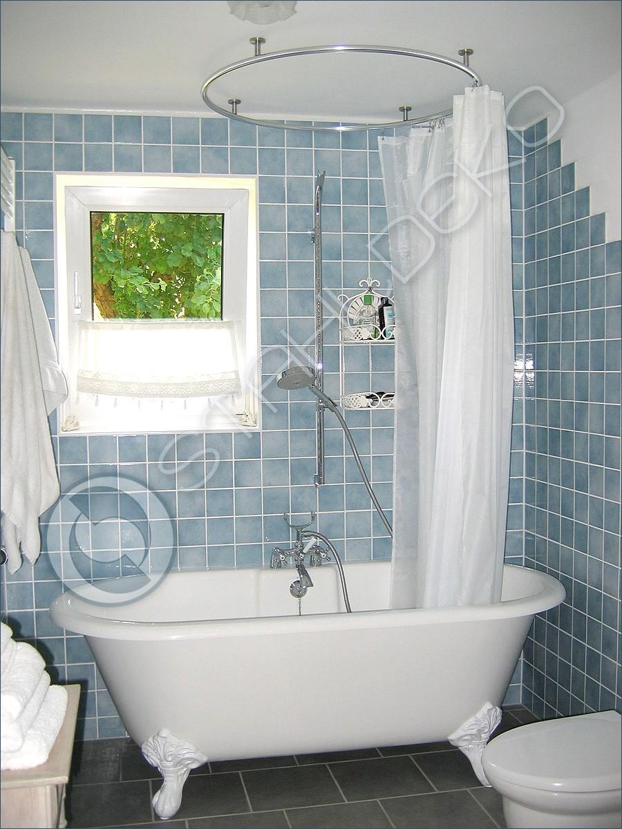 vorhangstange duschvorhang als kreis gebogen fuer runde freistehende badewanne