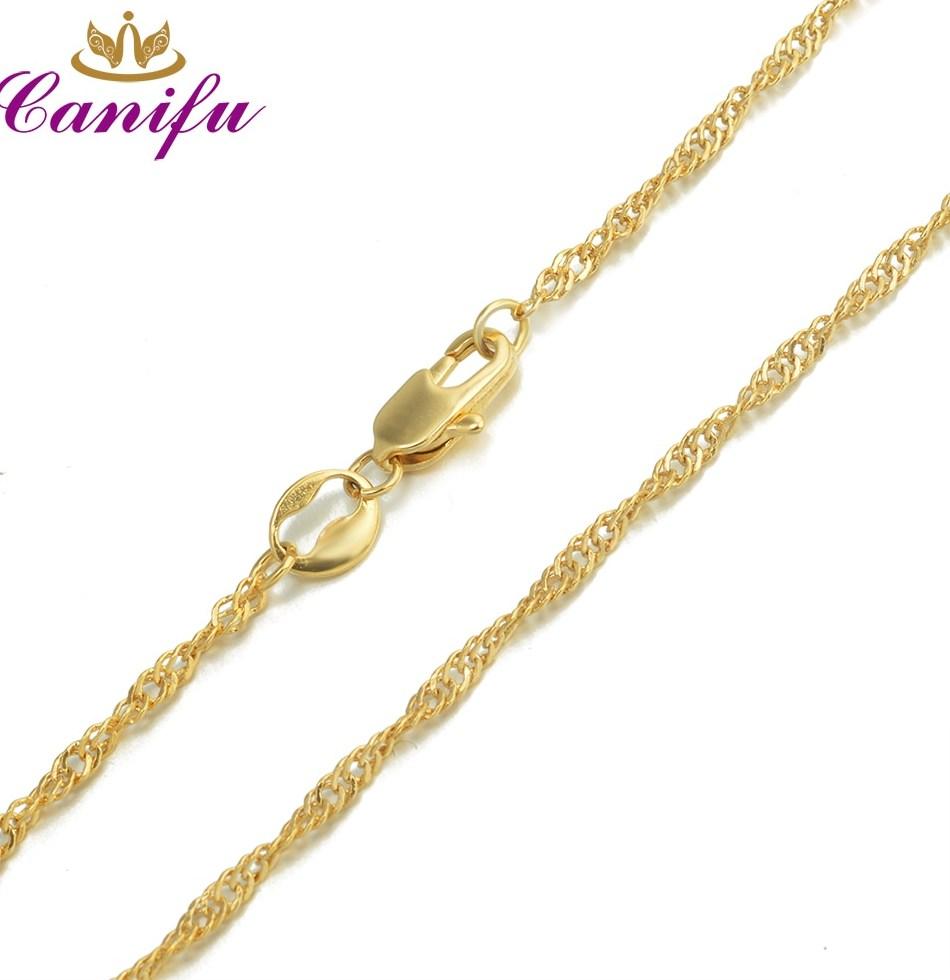 Canifu Новое поступление 450 мм 2 мм золото Цвет ожерелье Лидер продаж Тонкий волна воды Цепи