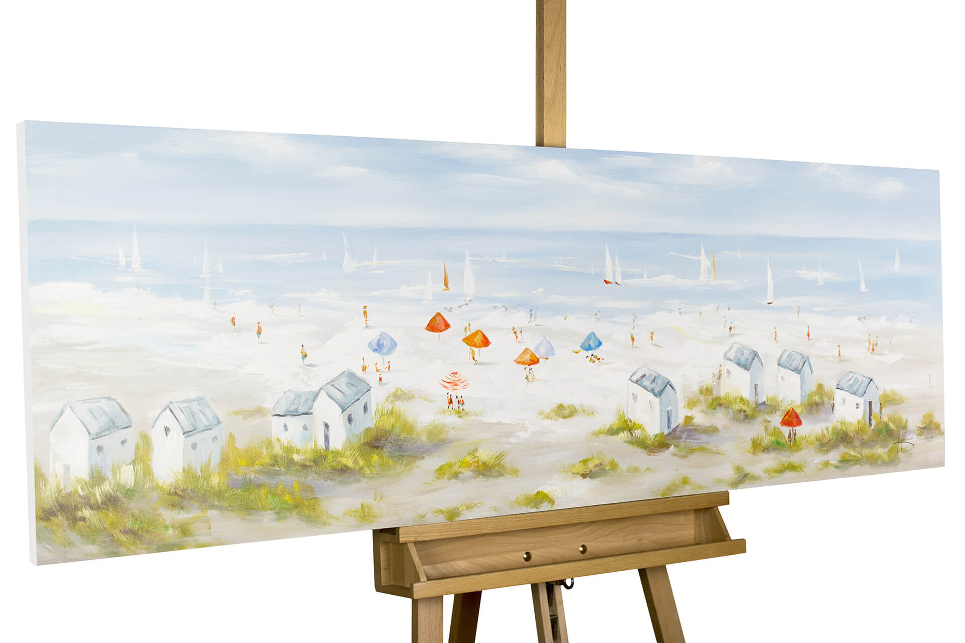 kl strandkorb meer ostsee pastell blau acryl gemaelde acryl bilder leinwandbilder moderne kunst 01