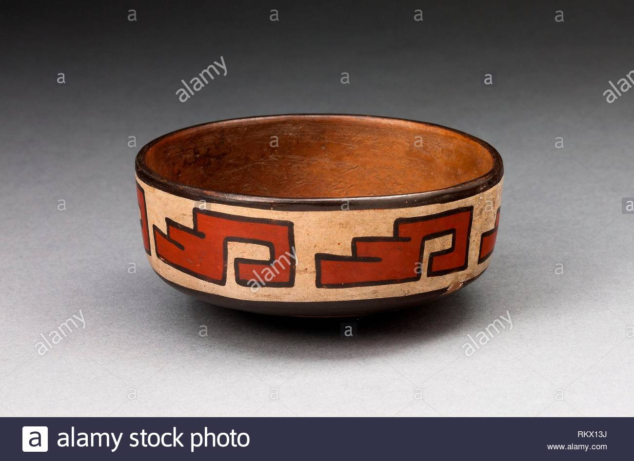 bowl with stepped fret motif 180 bcad 500 nazca south coast peru artist nazca origin nazca valley date 180 bc 500 ad medium RKX13J
