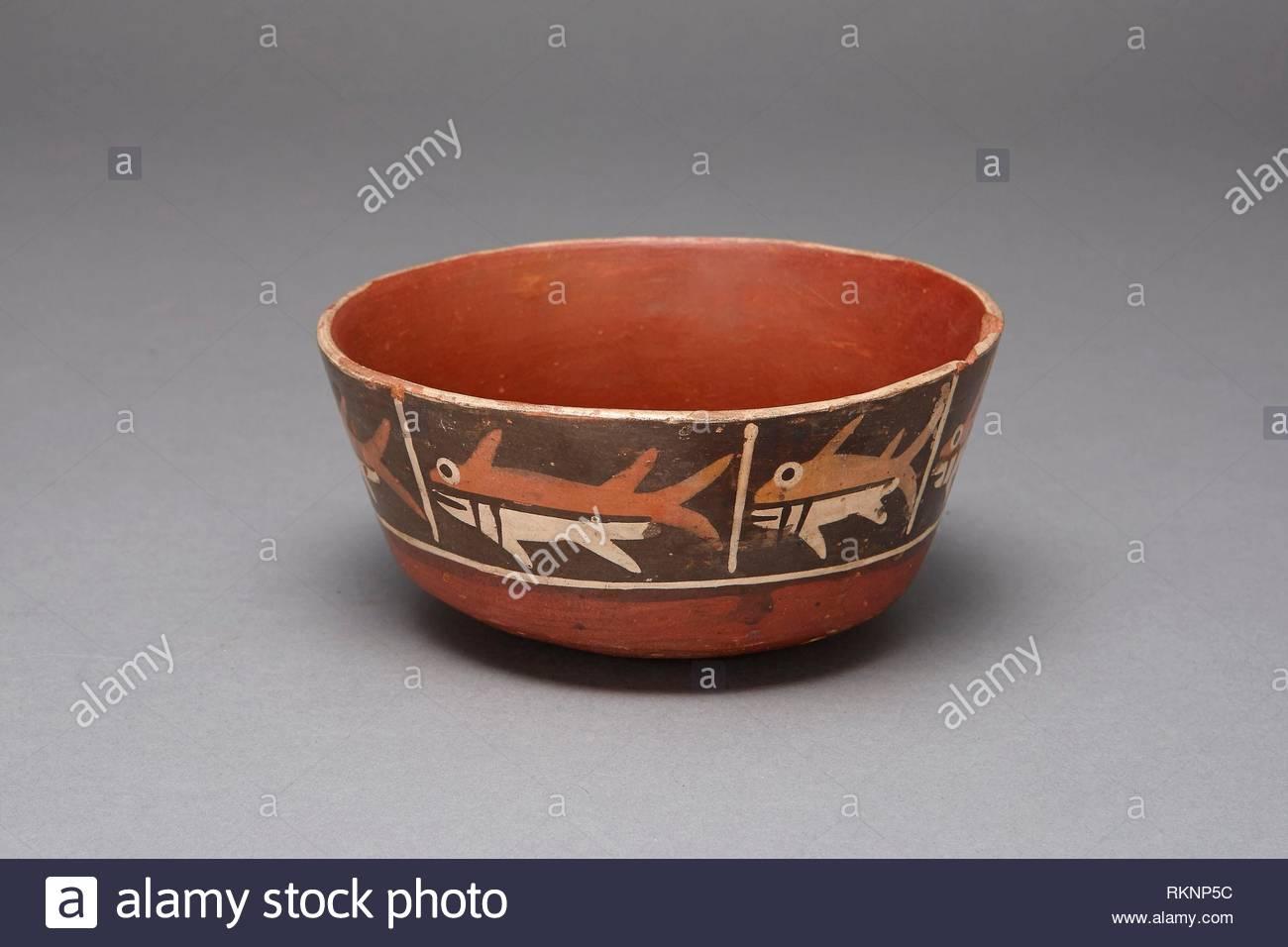 bowl with repeating depiction of a fish or shark 180 bcad 500 nazca south coast peru artist nazca origin peru date 180 bc500 ad RKNP5C