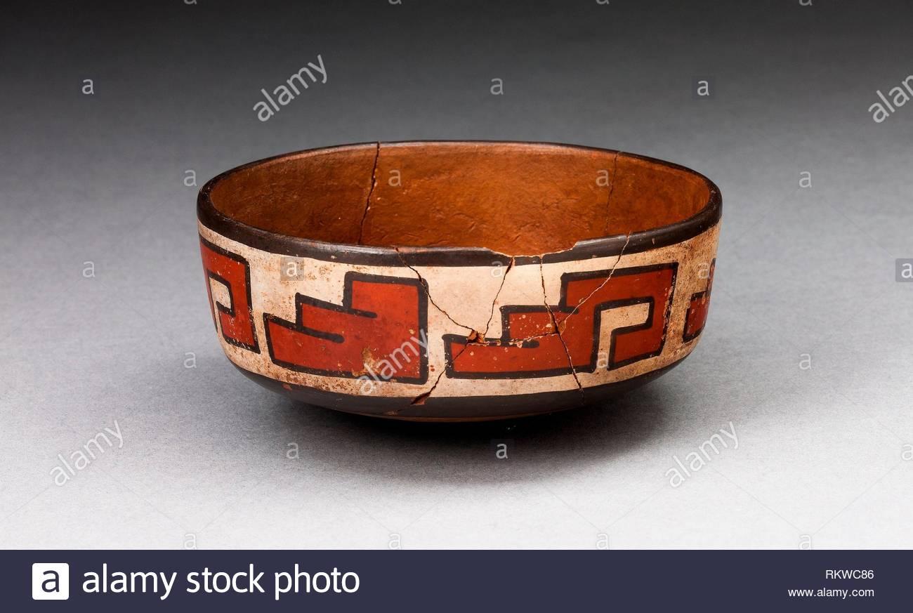 bowl with stepped fret motif 180 bcad 500 nazca south coast peru artist nazca origin nazca valley date 180 bc 500 ad medium RKWC86