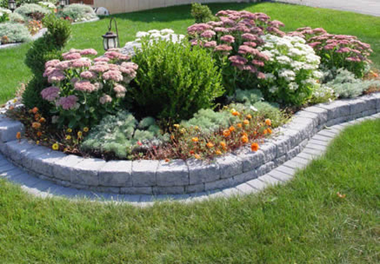 Terrasse Beet Gestalten Elegant Beautiful Raised Flower Bed Stone Border 32 Flowerbeds