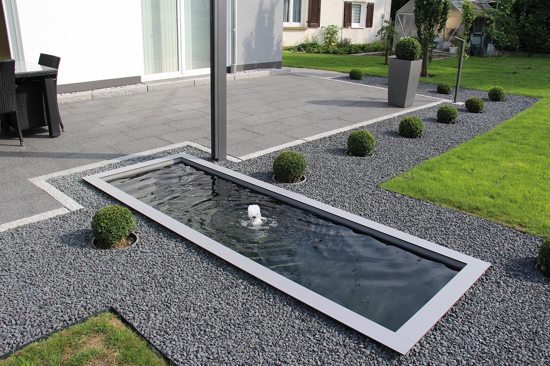 Terrasse Modern Gestalten Schön Wasserbecken Terrasse