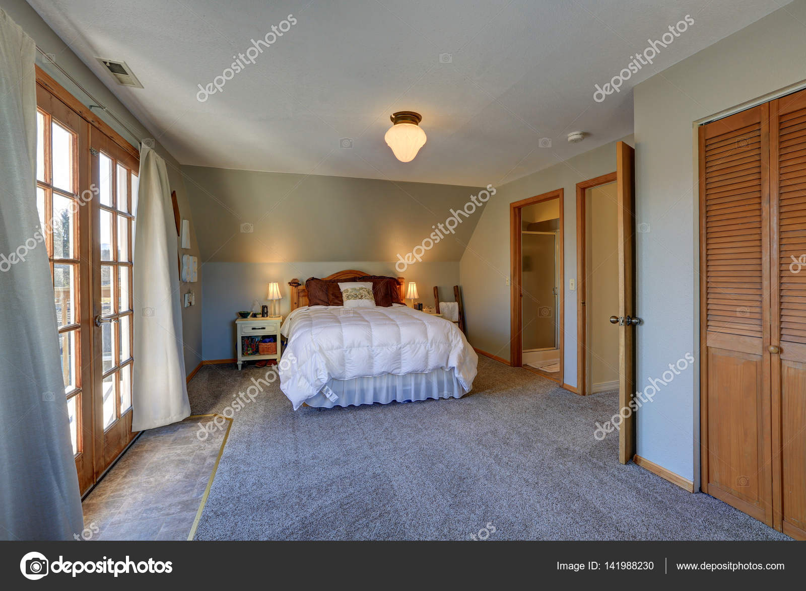 depositphotos stock photo tranquil bedroom with sloped ceiling