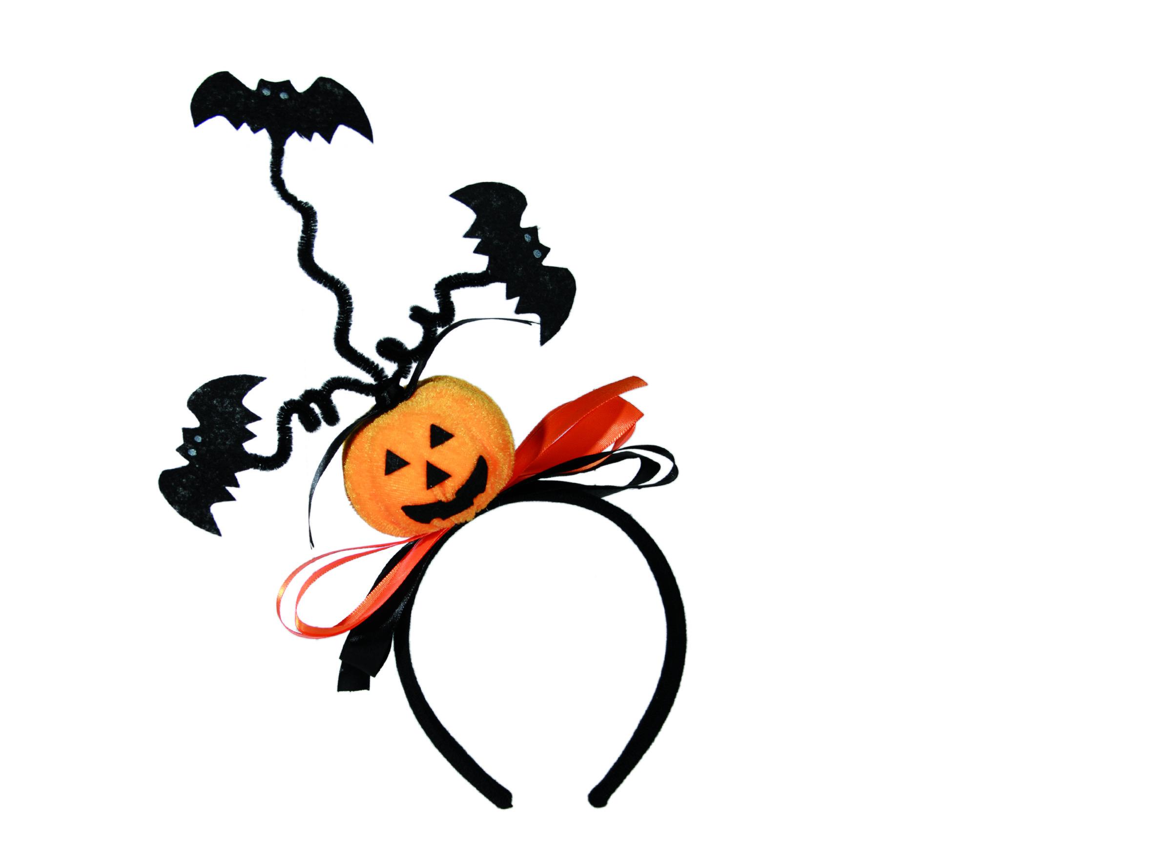 halloween haarreif mit kurbis und fledermaus