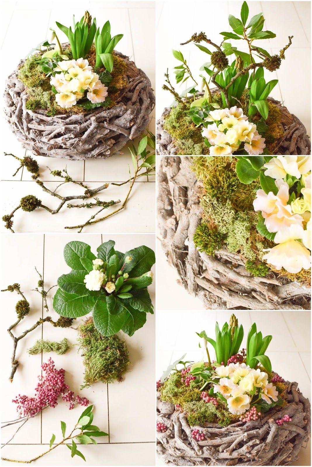 Tischdeko Holz Selber Machen Elegant Diy Frühlingskorb Natürlich Dekoriert