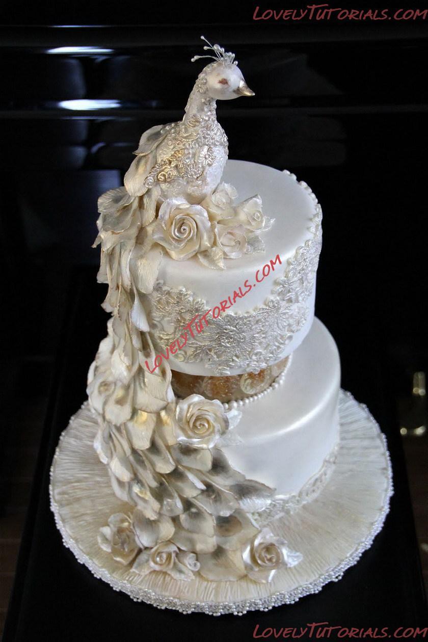 Tortendeko 1 Geburtstag Einzigartig Свадебный торт с павРином Wedding Cake with Peacock