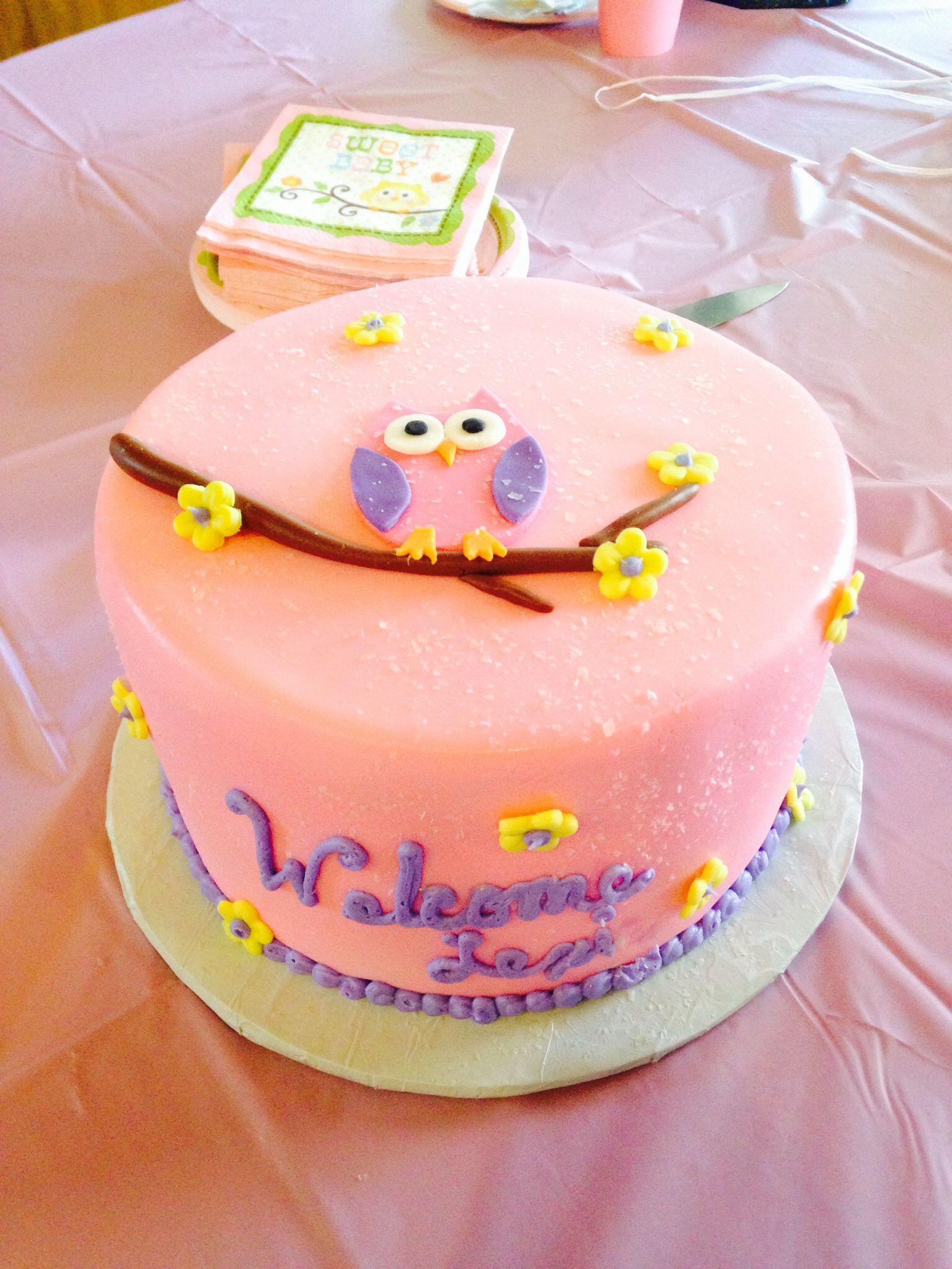 Tortendeko 18 Geburtstag Elegant Pink Owl Baby Cake