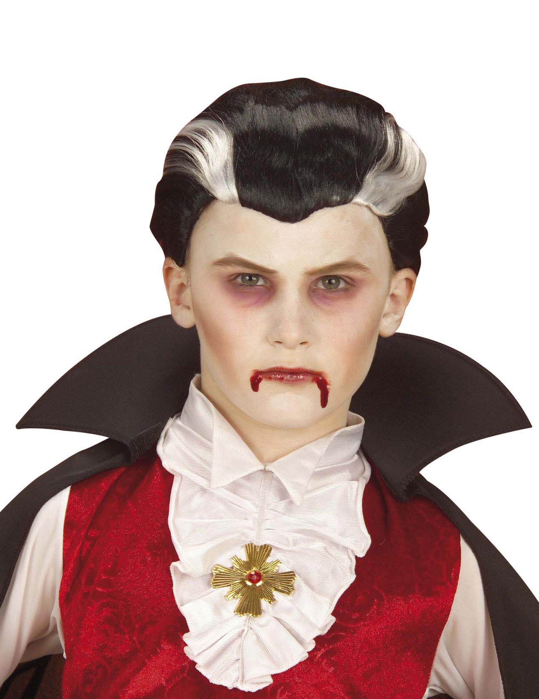 vampir perucke fur kinder halloween schwarz weiss