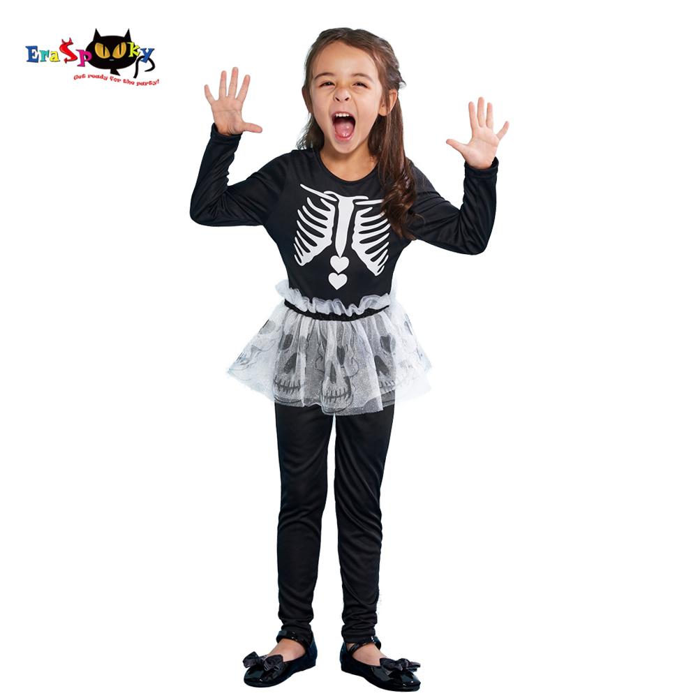 Eraspooky Skeleton Jumpsuit Girl s Skull Tutu Skirt Cosplay Halloween costume for kids Day of the