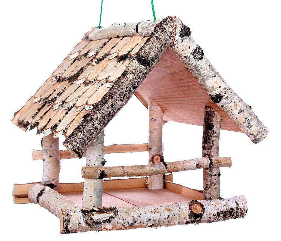 Vogelhaeuschen Birke II gross zum Aufhaengen Holz Futterhaus