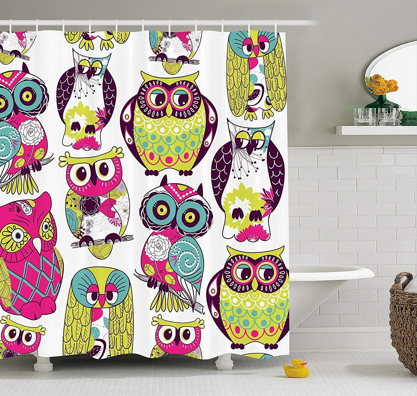 Kids Bathroom font b Shower b font font b Curtain b font font b Owl b