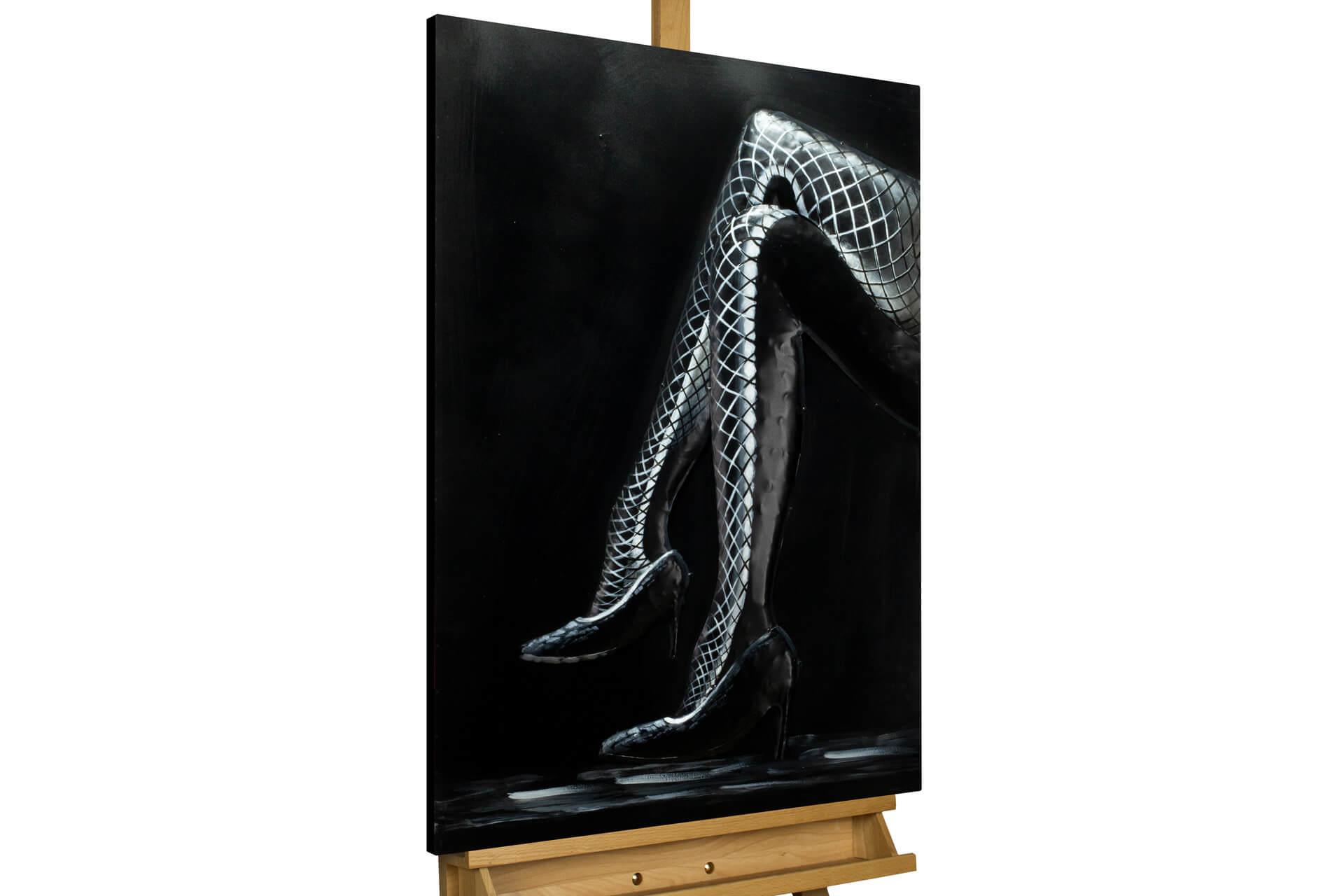 KL frau beine grau schwarz metall bilder metall wandbilder wanddeko wandskulptur 01