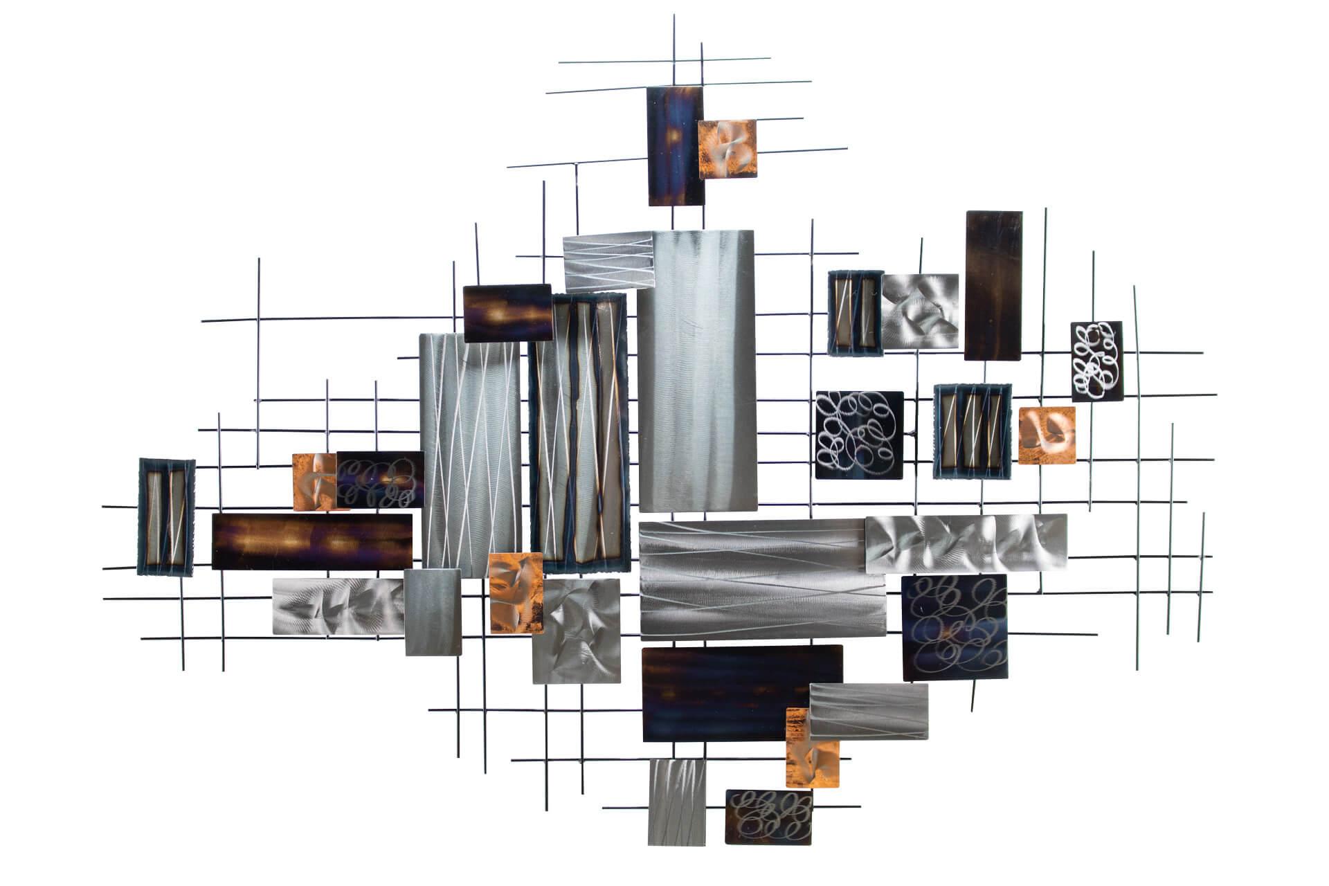 KL abstrakt quadrate silber braun wanddeko metall wandskulptur wandbilder aus metall 01