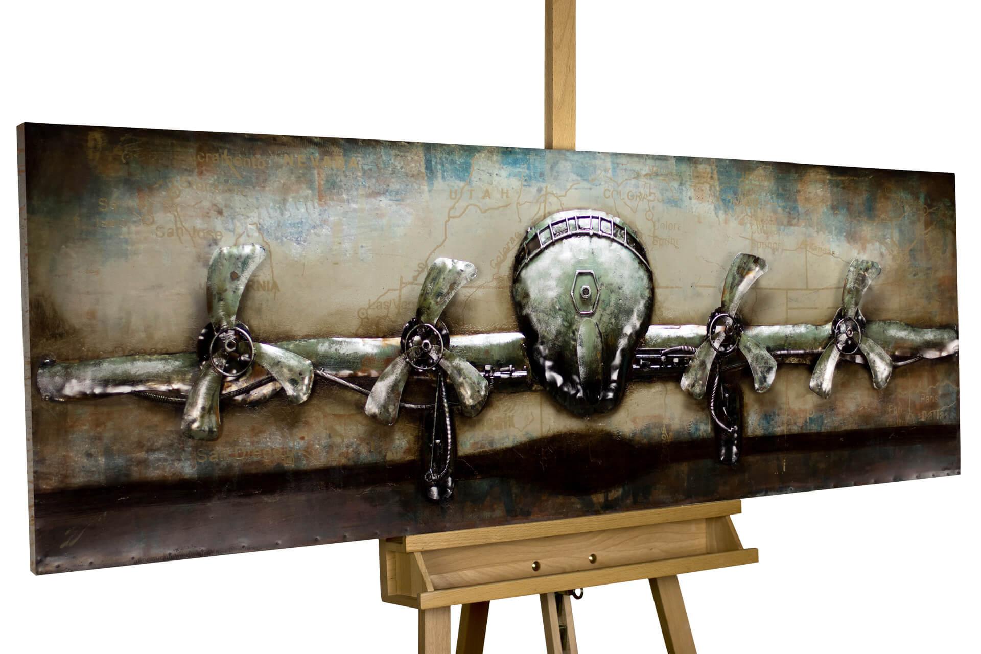 kl flugzeug grau fliegen reisen modern acryl gemaelde oel bild 02