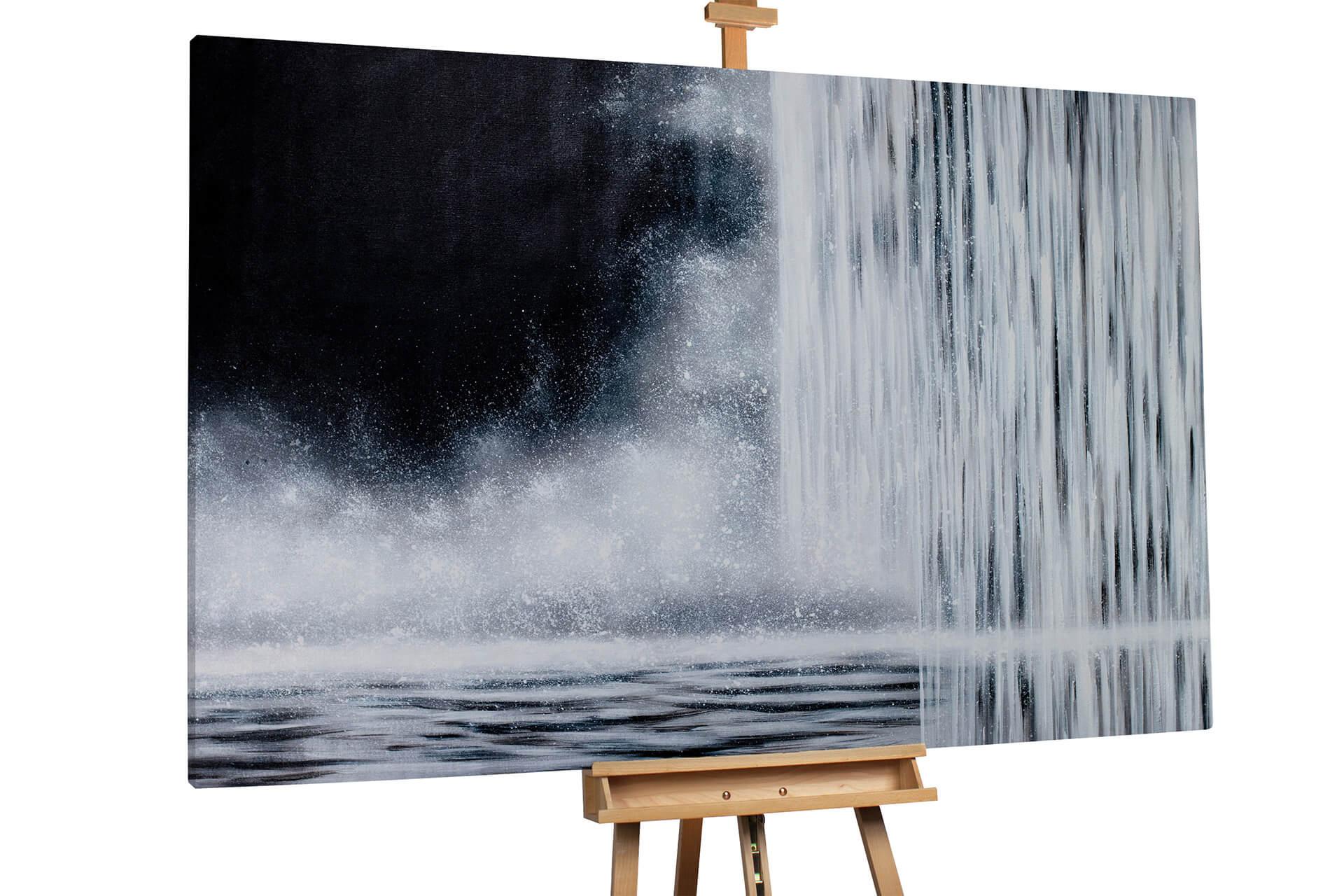 kl wasserfall schwarz weiss wasser modern acryl gemaelde oel bild 0001 02