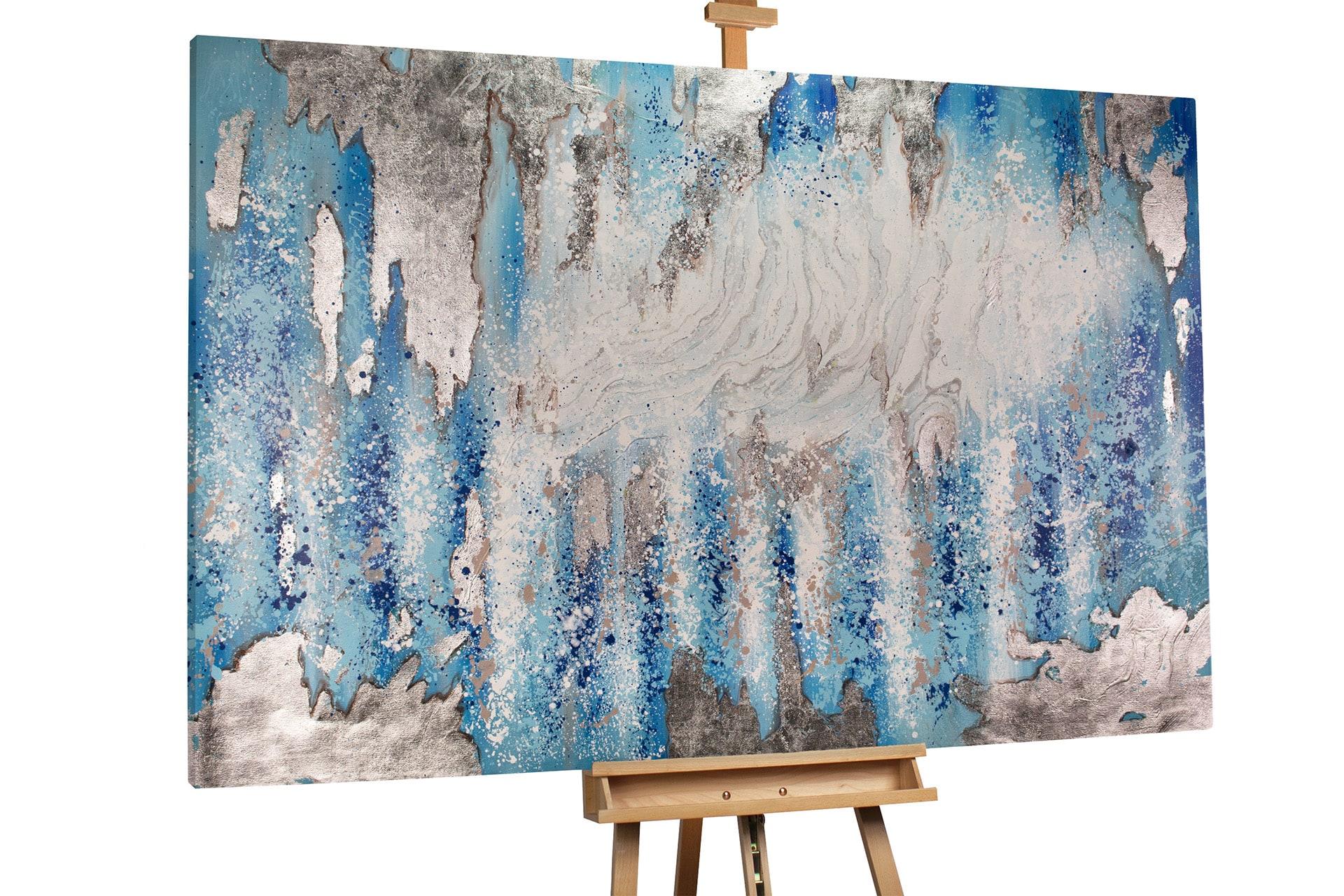 kl deko abstrakt weiss blau wasser licht modern acryl gemaelde oel bild 02 min