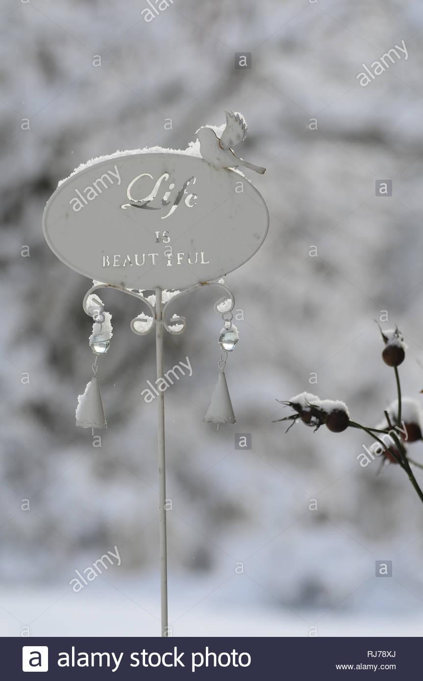 gartendeko stecker mit vogel und schriftzug life is beautiful im winter schnee close up RJ78XJ