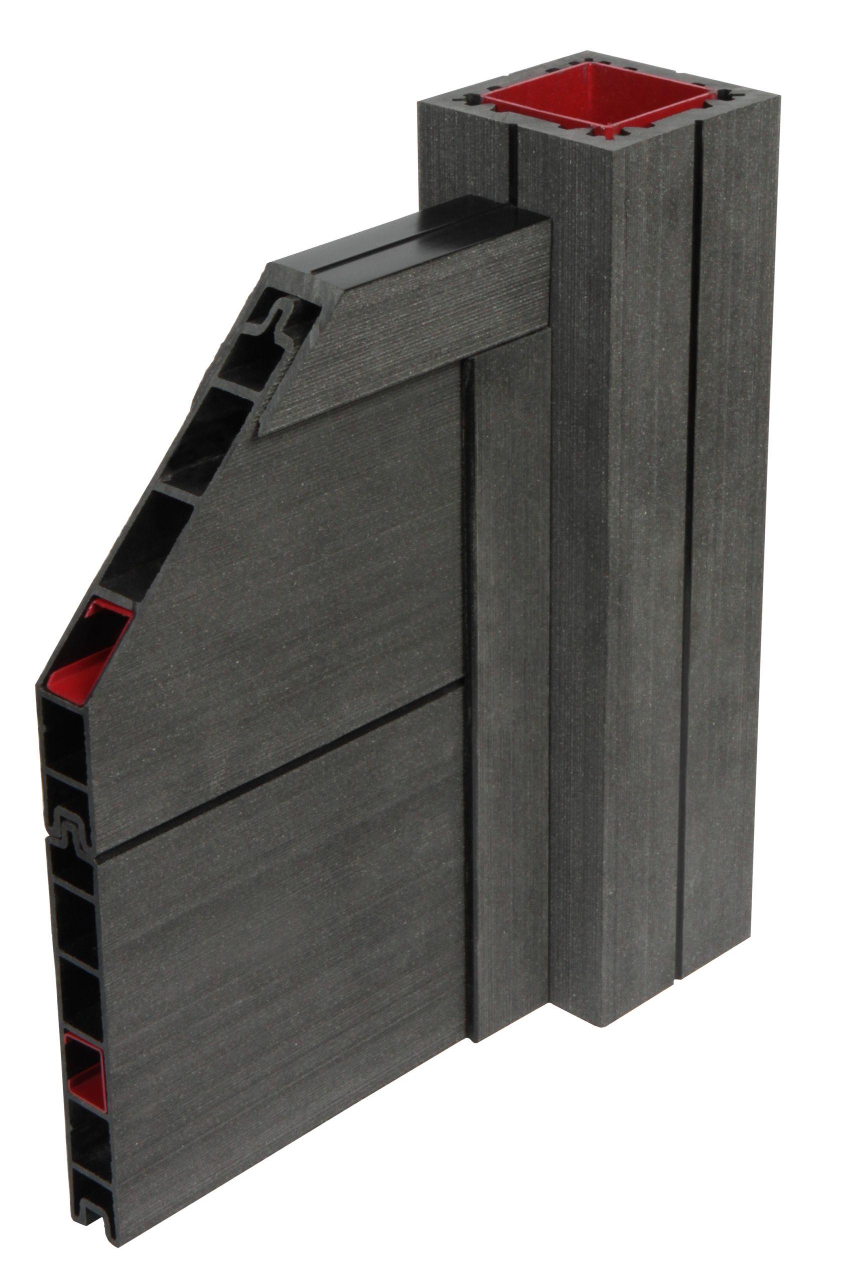 GUJ M WPC Zaun Sombra 180 x 180 x 27 cm Stecksystem Standard Farbe wahlweise 4