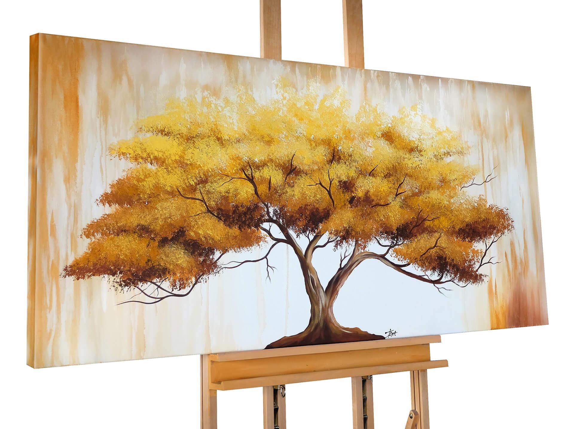 kl baum leben natur braun gold acryl gemaelde acryl bilder leinwandbilder moderne kunst 01