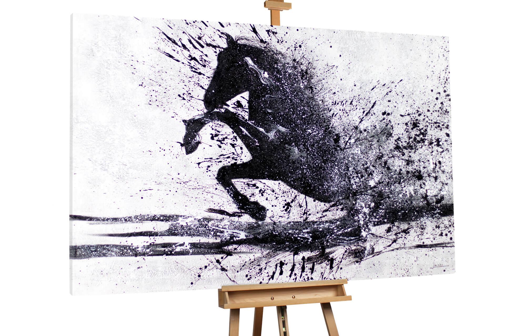 kl pferd wildtier schwarz weiss modern acryl gemaelde oel bild 0001 02