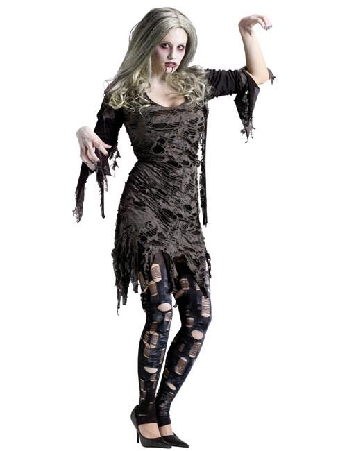 p zombie frau halloween damenkostuem grau schwarz