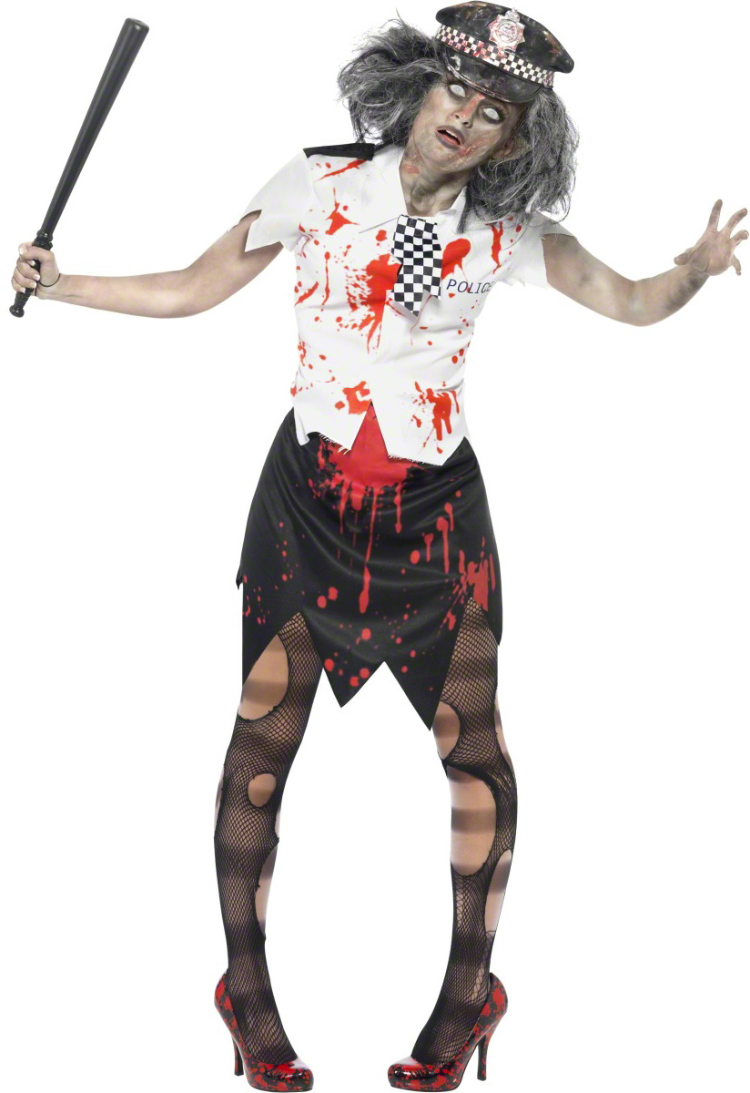 p zombie polizistin halloween damenkostuem schwarz weiss rot
