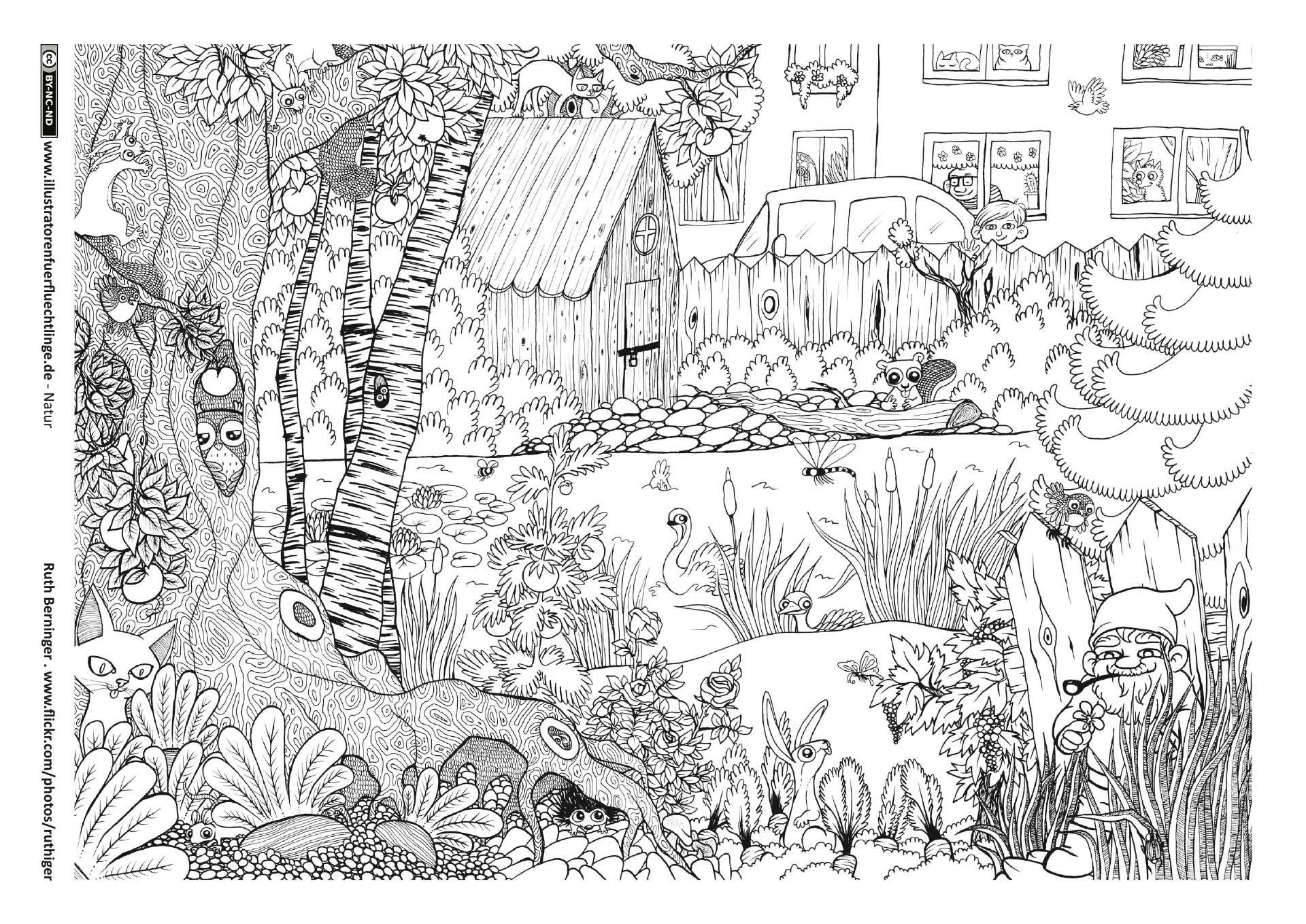 Ausmalbilder Garten Elegant Garten Tiere Wimmelbild