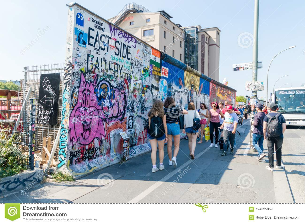 berlin germany august undefined people walking near east side gallery berlin wall undefined people walking near east side