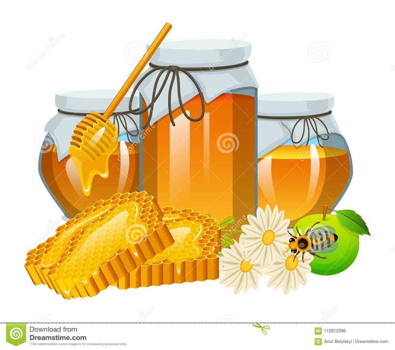 honigsatz biene und bienenstock löffel bienenwabe bienenhaus natürliches landwirtschaftliches produkt imkerei oder garten blume
