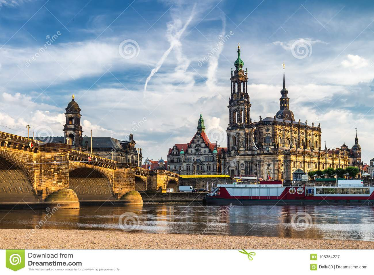 augustus bridge augustusbrucke cathedral holy trinity hofkirche over river elbe dresden germany saxony augustus