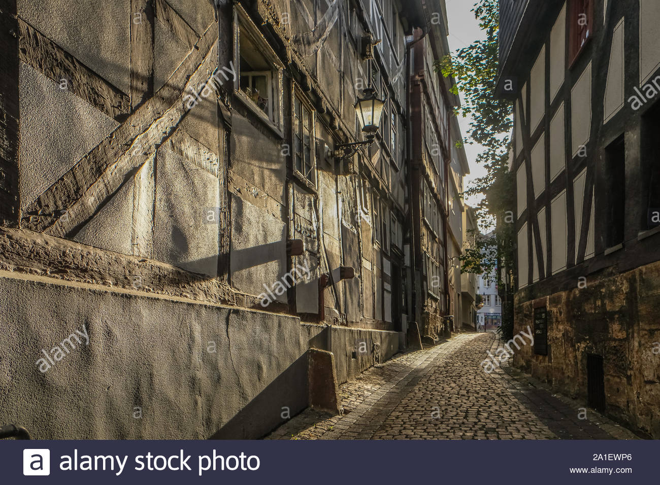 historic city center of marburg at the river lahn hesse germany with traditional houses 2A1EWP6
