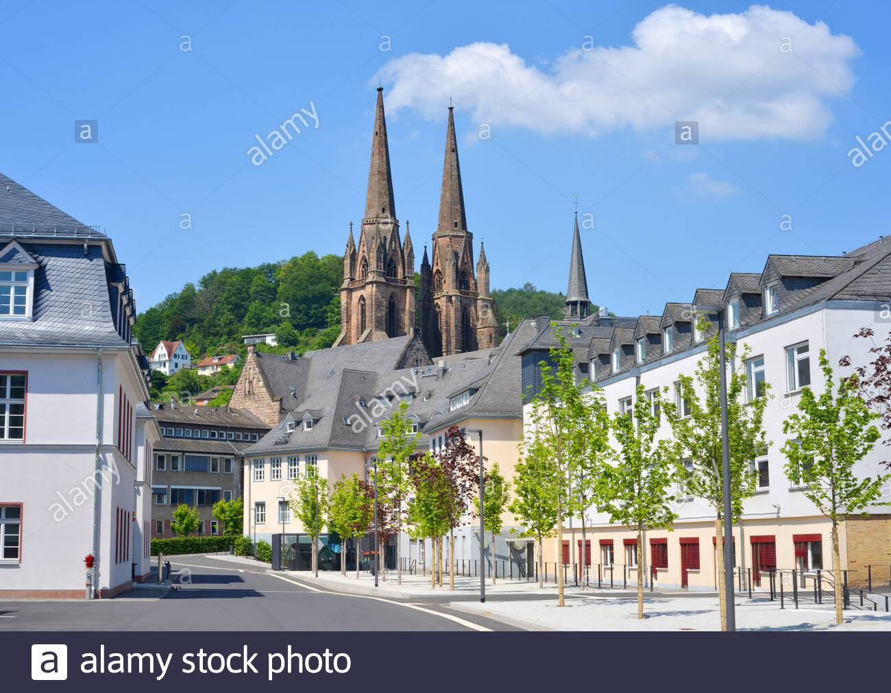 marburg germany view to the new students quarter inside the center with the elisabeth church in the background 2AW8EXN