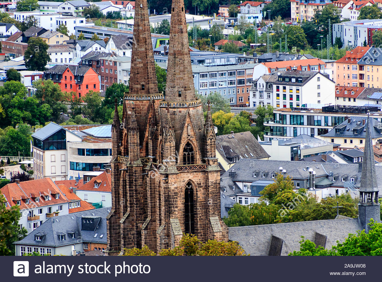 panoramic view of university town marburg with the church of st elisabeth germany 2A9JW08