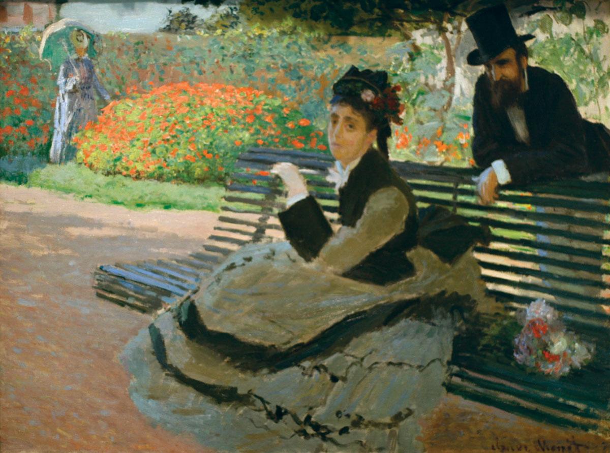 Camille Monet Garden Bench oil canvas Claude 1873