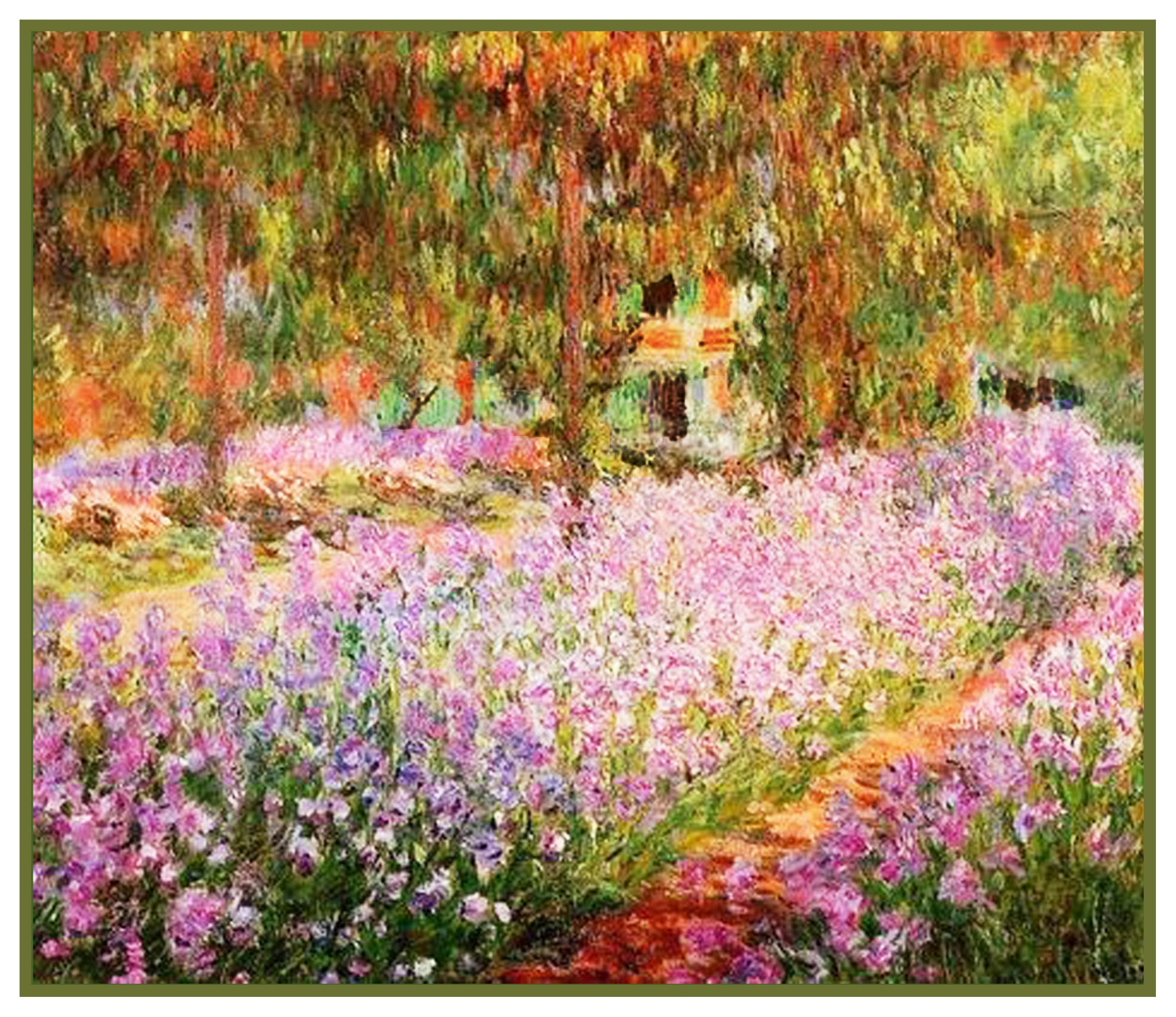 1a14x12irises in monets gardengrnwht