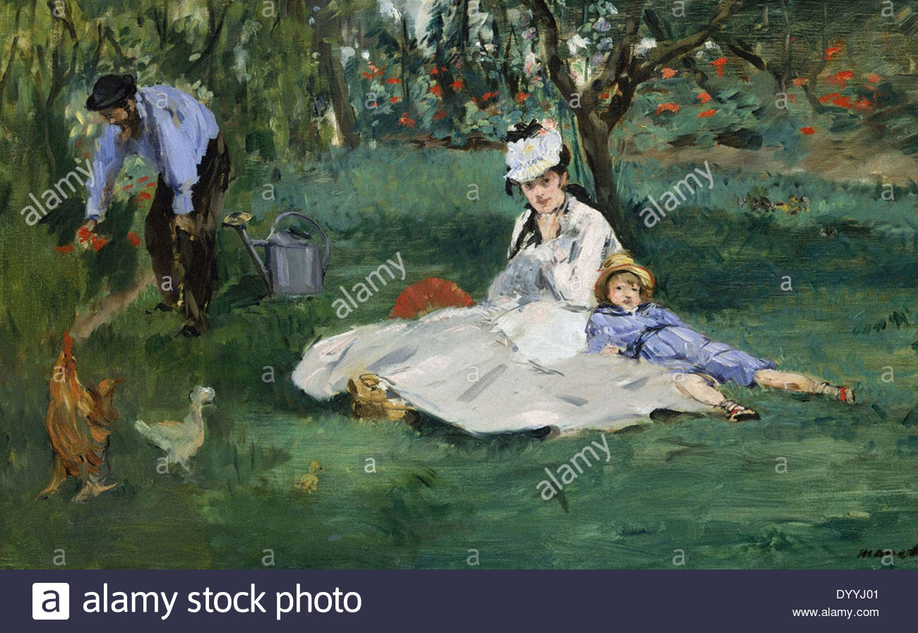 claude monet the monet family in their garden at argenteuil DYYJ01