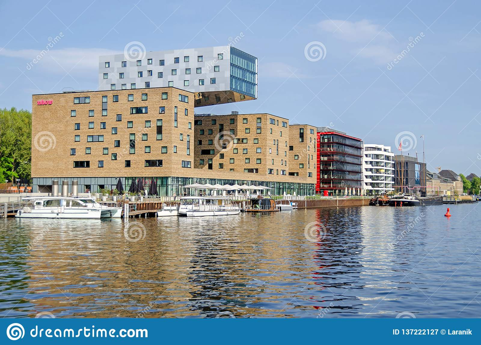 hotel nhow europe's first music berlin germany april center creative media district banks river spree its
