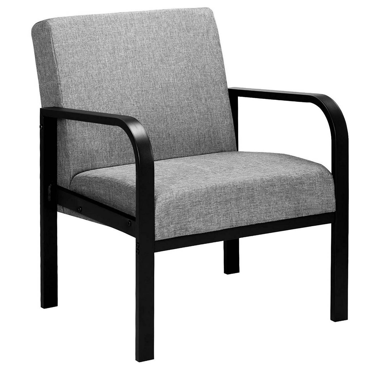 Loungesessel Polstersessel aus Stahl Stoffbezug Grau1