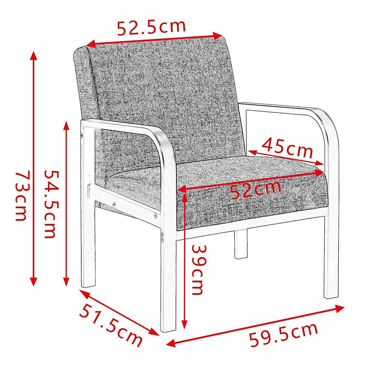 Loungesessel Polstersessel aus Stahl Stoffbezug Grau3