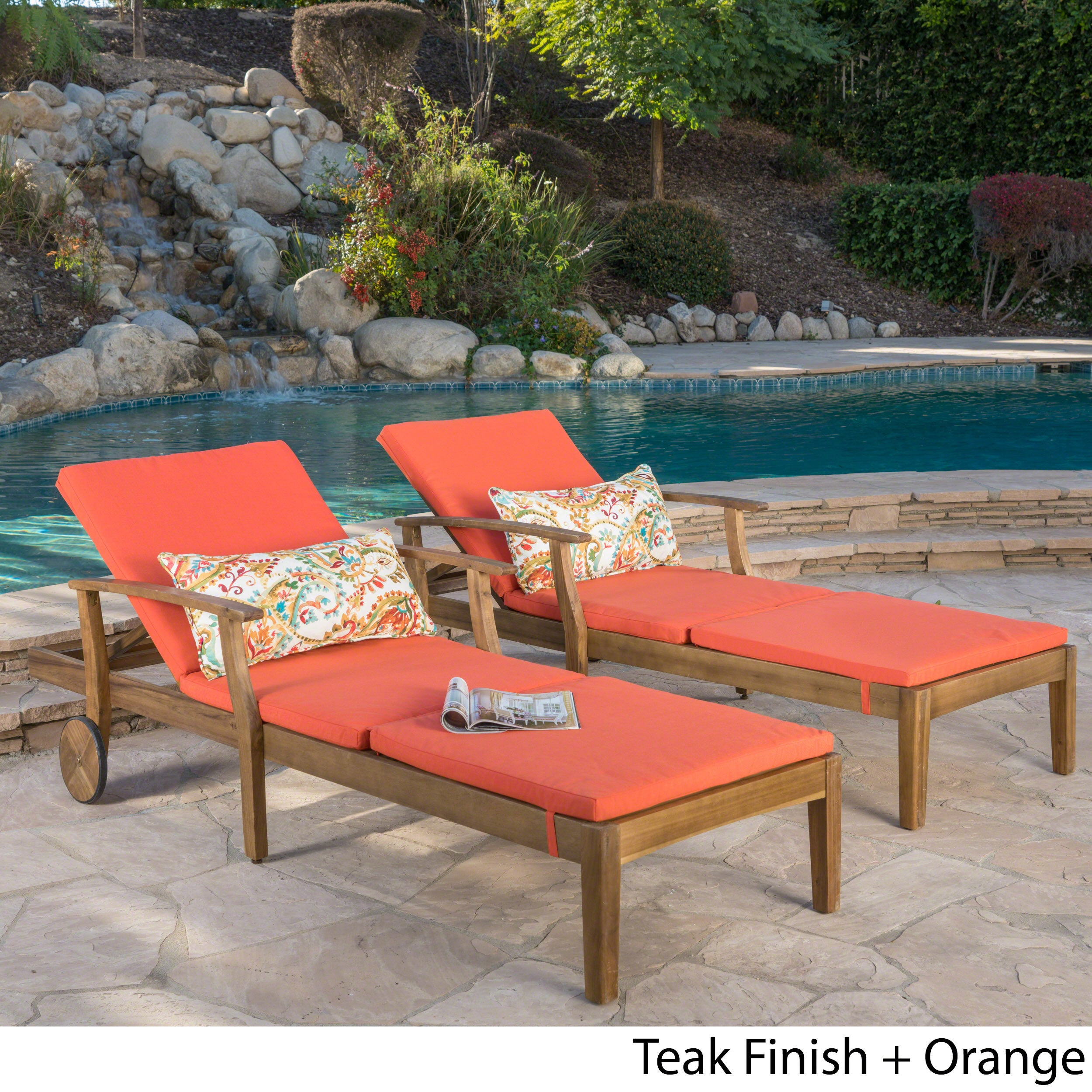 Perla Outdoor Acacia Wood Chaise Lounge with Cushion Set of 2 by Christopher Knight Home 934fee44 42e0 47f3 8287 be9f6ae1e957