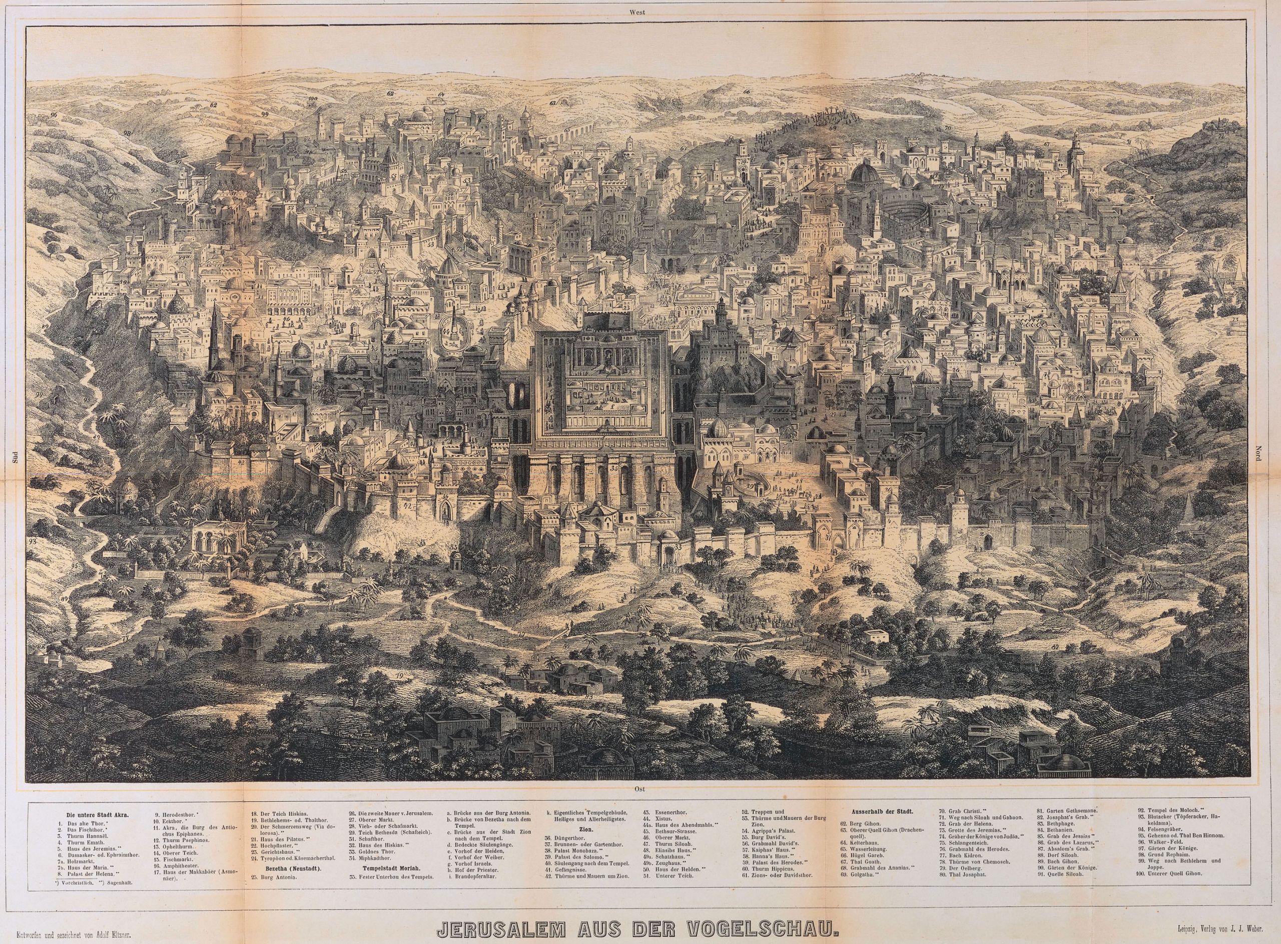 Jerusalem aus der Vogelschau Entworfen und gezeichnet von Adolf Eltzner Druck von F A Brockhaus in Leipzig
